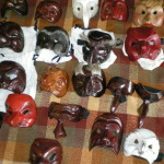 Character masks ready for one of the workshops.
