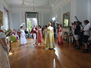 The Duke's Dancers enjoy a filming session.